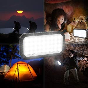 41kg7rZ7jQL - Solar Charger, 25000mAh Battery Solar Power Bank Portable Panel Charger with 36 LEDs and 3 USB Output Ports External Backup Battery for Camping Outdoor for iOS Android