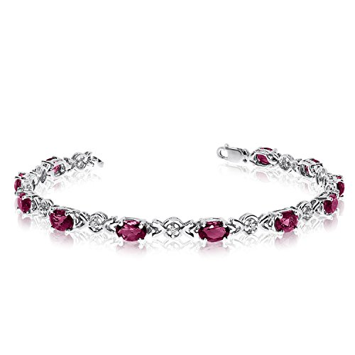 (Jewels By Lux 14K White Gold Oval Ruby and Diamond Bracelet)