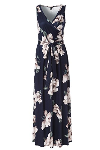 Zattcas Womens Bohemian Printed Wrap Bodice Sleeveless Crossover Maxi Dress,Navy,Medium