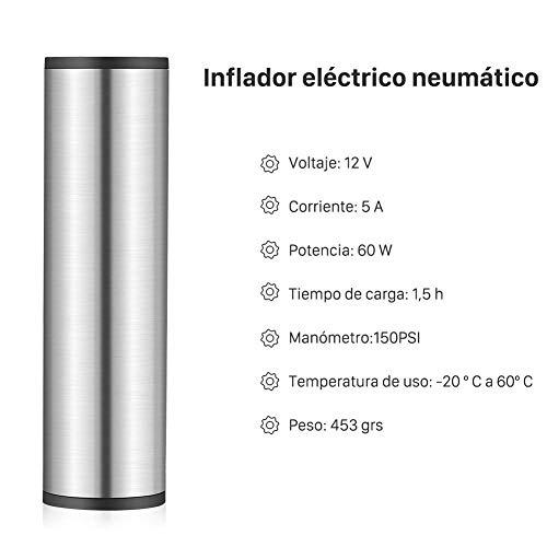 GHB Mini Compresor de Aire Inflador Eléctrico Bomba Eléctrica Portátil 150 PSI Recargable con Pantalla LCD [Color Plateado]: Amazon.es: Coche y moto