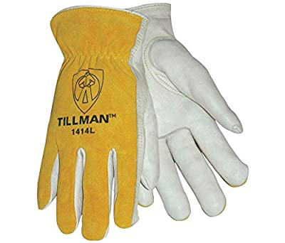 Tillman 1414L 1414 Unlined Cowhide Leather Drivers Glove, Cowhide Leather, Large, White/Yellow (12 Pairs)