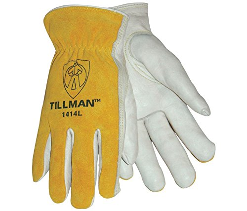 Tillman 1414L 1414 Unlined Cowhide Leather Drivers Glove, Cowhide Leather, Large, White/Yellow (12 Pairs) by Tillman