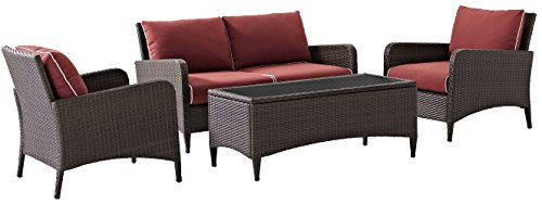 Domain 4 Piece (Crosley Furniture Kiawah 4-Piece Outdoor Wicker Conversation Set with Sangria Cushions - Brown)