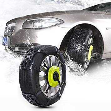 Uniqus 8 PCS Car Snow Tire Anti-Skid Chains Winter Car Snow Tire Chains Wheel Chains Anti-Skid Belt Thickened Anti-Slip Chain Black Chains with Two Fixed Plate