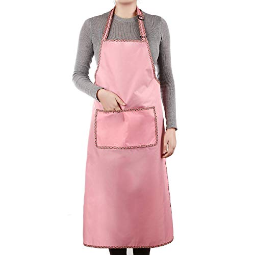 Winsterch Plus Size Chef Apron with Pocket for Women in Stylish Pink. 3X Waterproof Vinyl 41.3