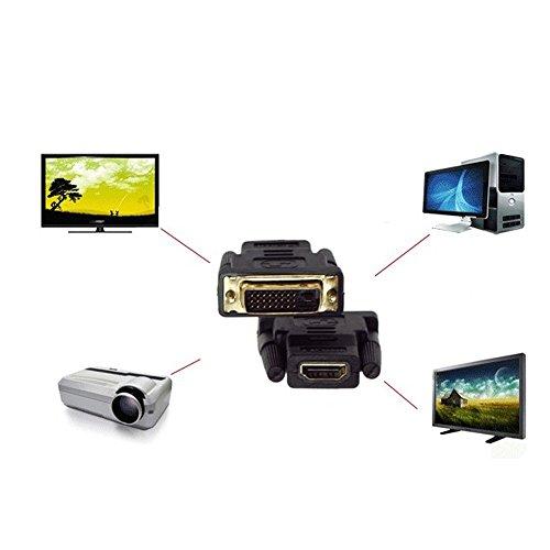 Mp3 Wav Splitter - HDMI to DVI-D 24+1 Pin Monitor Display Adapter,HDMI Female(19-pin) HD HDTV Monitor Display Adapter (Black, A)