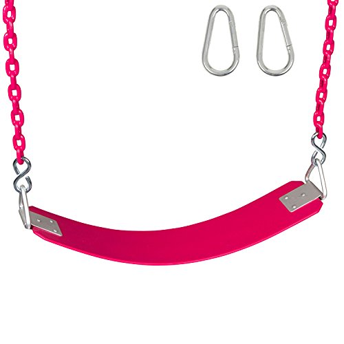 Swing Set Stuff Inc. Swing Set Stuff Commercial Rubber Belt Seat with 5.5 Ft. Coated Chain Sss Logo Sticker, Pink -