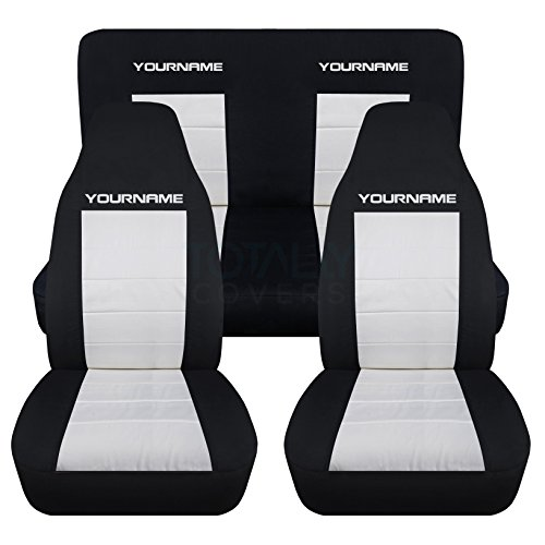 Totally Covers Fits 1994-2004 Ford Mustang 2-Tone Seat Covers w Your Name/Text: Black & White - Full Set Coupe/Convertible Solid/Split Bench 4th Gen 1995 1996 1997 1998 1999 2000 2001 2002 2003