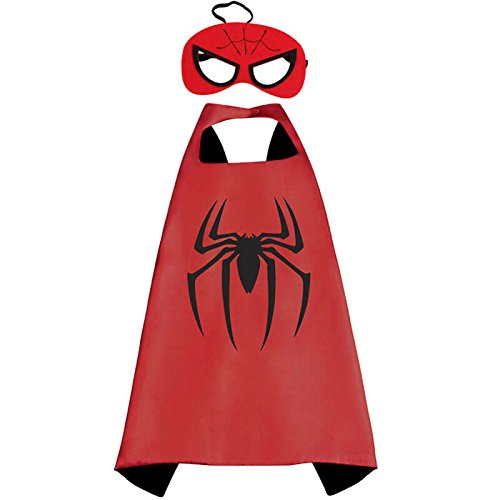 Halloween Costume Superhero Dress Up For Kids - Best For Christmas Gift, Children's Birthday, Cosplay Party. Satin Cape and Felt Mask Role Play Set. Cartoon Outfit For Boys and Girls (Spiderman Halloween Costume Toddler)