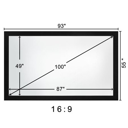 Black Aluminum Fixed Frame Projector Matte White PVC Screen Wall Mounted 100'' 16:9 160° Viewing Angle for Home Theater Office Video HD Projection Widescreen by Generic