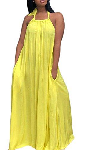 Plage De Femmes Licol Dos Nu Cromoncent Une Robe Maxi D'été Swing Ligne Plissée Jaune