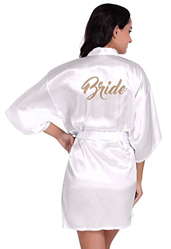 Lucao Women's Satin Kimono Robe 3/4 Sleeve Loungewear Sleepwear with Waistband
