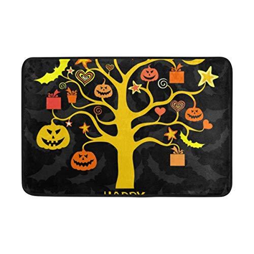 CANCA Halloween Pumpkin Tree Boo Doormats Floor Mats Shoe Scraper for Home Indoor Entrance Way Front Door 23.6 by 15.7 Inches 40 x 60 cm ()