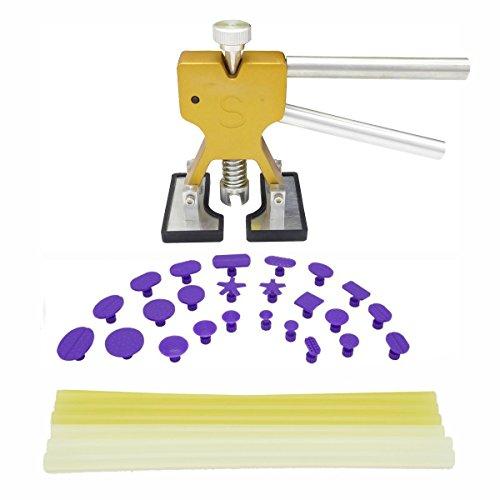 SUNCARLE S0031 Paintless Dent Repair Tools Hand Tools Golden Dent Lifter, Glue Tabs, Glue Sticks Auto Body Dent Removal Tools Car Dent Removal Tool Kit, 31 Piece