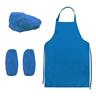 Springcorner Kid's Kitchen Cooking and Baking Wear, Kids Apron and Chef Hat Set with Pocket and Sleeves, Children Cook Costume for Cooking Baking Painting (Blue): Toys & Games