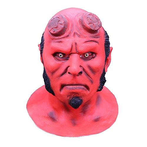 Lucky Lian Men's Hellboy Mask Halloween Costume Latex Replica Mask Cosplay (Hellboy Mask Latex)