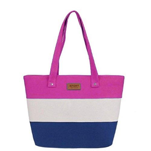 Soft Large Bags Shoulder Youcoco Canvas Red Striped Shoulder Capacity Handbag Bags Women Rose Zipper Wide XXFIUq