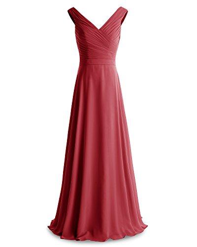 Neck Length Dress Dark Floor Dress Ruched Evening Bridesmay Red Chiffon Bridesmaid V wHq1f70Xn