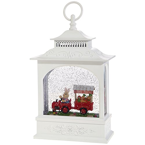 Easter Snow Globe Lantern: 11 Inch, White Glitter Light Up Snow Globe Water Lantern by RAZ Imports (Rabbit with Farm Cart) ()