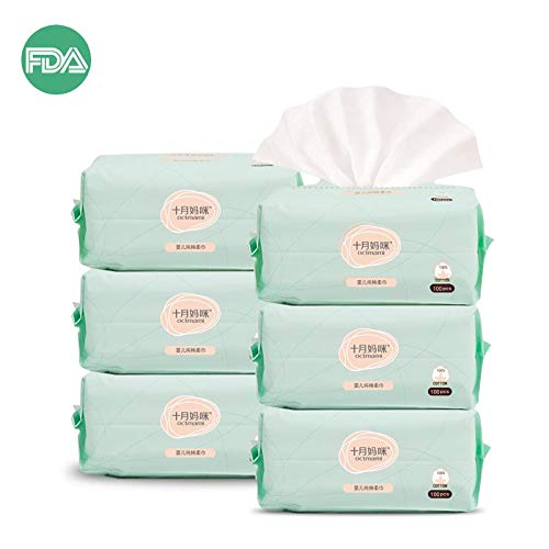 Dry Baby Wipes Octmami Soft Dry Cotton Wipes Baby Tissue Cotton for Sensitive Skin Portable 6 Packs 600 Count by octmami