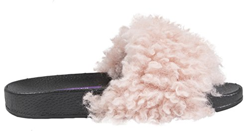 Lora Dora Womens Diamante Faux Fur Sliders Pink - Fluffy 2J2642SUUo