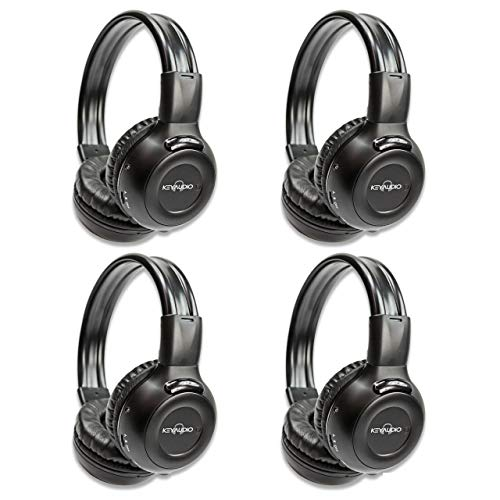 Four Pack of Two Channel Folding Adjustable Universal Rear Entertainment System Infrared Headphones With Four Additional 48 3.5mm Auxiliary Cords Wireless IR DVD Player Head Phones for in Car TV Vide