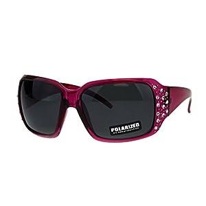 SA106 Polarized Lens Oversize Rhinestone Bling Iced Out Womens Sunglasses Fuchsia Black