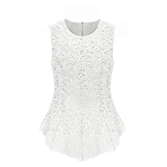 Aokin Ladies Scoop Neck Sleeveless Lace Shirt Blouse Top (L, White)