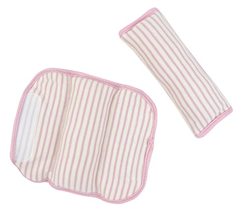 DorDor & GorGor ORGANIC Baby Seat Belt Cushion, Extra Plush, 100% Cotton (Pink striped) ()