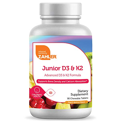 Zahler Junior D3 K2 Chewable 2000IU, Great Tasting Chewable Vitamin D with K2 for Kids, Vitamin D3 2000 IU and K2 for…
