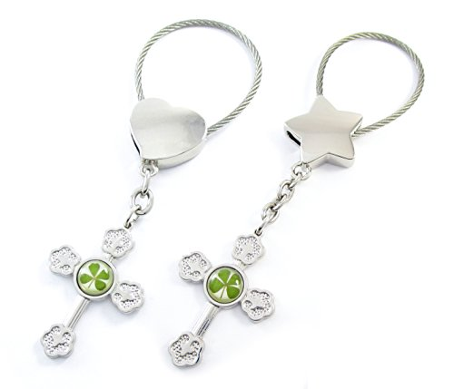 Genuine Four-Leaf Lucky Clover Crystal Amber Engravable Key Chain, Large Cross 4 Protection! (3. Matching Pair)