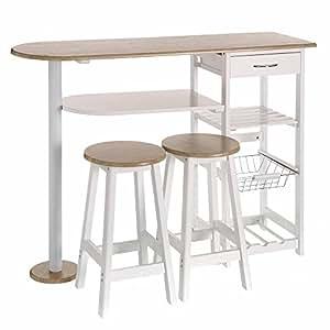 Lola derek mesa de cocina bar moderna de madera blanca - Mesa de madera para cocina ...