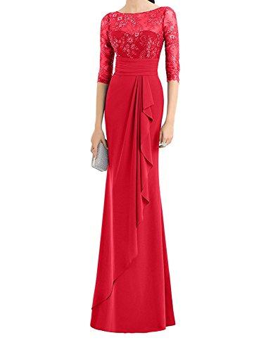 Partykleider La Abendkleider Spitze Rot mia Ballkleider Braut Hochwertig Abschlussballkleider Etuikleider Langarm 1wOU01
