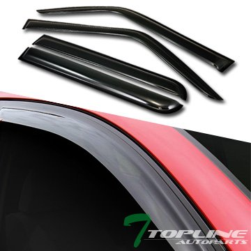 Topline Autopart Smoke Window Visors Deflector Vent Shade Guard 4 Pieces For 07-15 Jeep Patriot