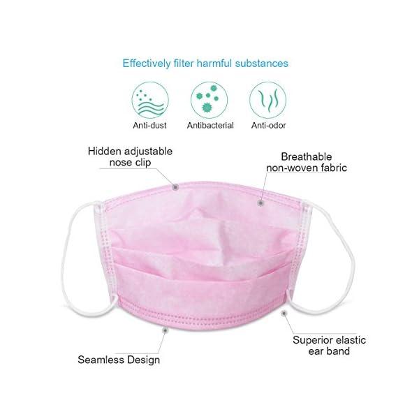 HEALIFTY Máscaras desechables - 50 piezas de filtro de bacterias de polvo Máscaras de gancho - 3 capas de tela no tejida - Dental, quirúrgico, médico, comercial, antialérgico 2