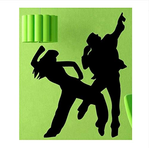 - whwd 70X112Cm Music Dance Wall Decal Sport Woman Man Dancers Mural Art Wall Sticker Fitness Dance Room Pub Bar Coffee Shop Decor Bedroom Decor