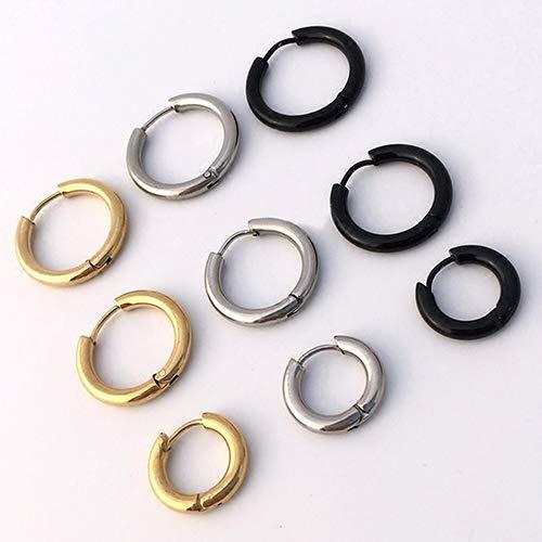 Acamifashion 1Pc 16/21/23mm Gothic Punk Simple Titanium Steel Hoop Piercing Earring Halloween Wedding Jewelry Decor Black 23 mm -