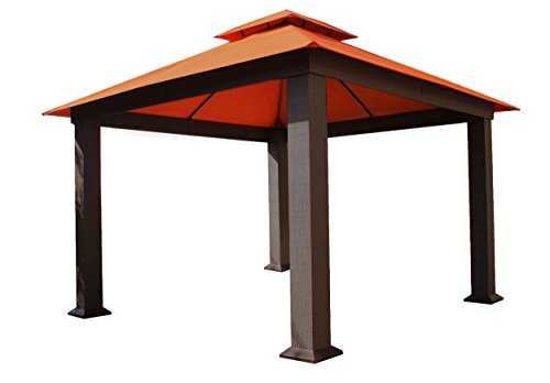 Systems Trading Corporation SYSTEMS TRADING CORP Paragon-Outdoor Seville Gazebo, Sunbrella 12' x 12' Soft Top Square Wicker price tips cheap