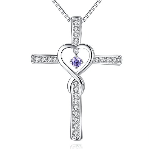 June LightAmethyst Birthstone Infinity Endless Love God Cross CZ Pendant Necklace, Birthday Jewelry Gifts for Women Girls Sister Wife Girlfriend Mom Mother Grandma Daughter Friendship Christmas Gifts