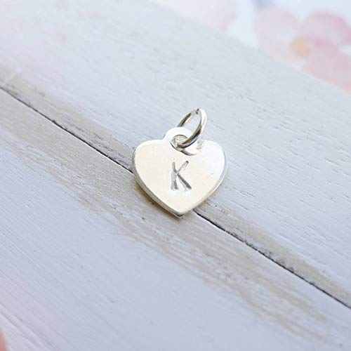 Heart Initial Tag or Charm Sterling Silver Personalized Tiffany Tag