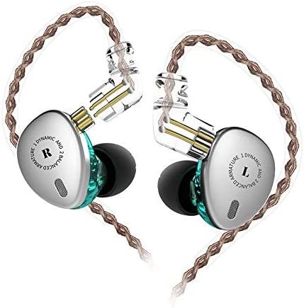 KBEAR KB06 in Ear Monitor 2BA 1DD HiFi Earphone Triple Driver in Ear Headphone with Detachable 2 Pin Cable for Worship Band (Silver Green,No Microphone)