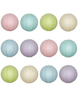 12 X 12 Round Paper Lantern With Wire Ribbing Pastel Colour Pack