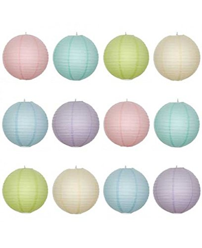 12 X 8inch Round Paper Lantern With Wire Ribbing New Pastel Colour