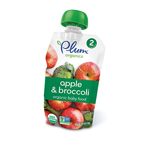 Plum Organics Stage 2  Organic Baby Food  Apple And Broccoli  4 Ounce Pouch  Pack Of 12