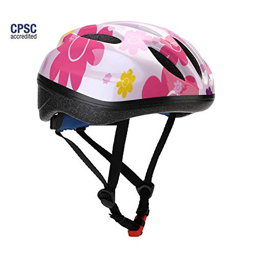 Dostar Kid's Bike Helmet, Youth Lightweight Road Mountain Racing Adjustable Cycling Multi-Sport Safety Bike Skating Scooter Bicycle Helmets for 5-14 Years Old Boys/Girls (Sunflower-Pink)