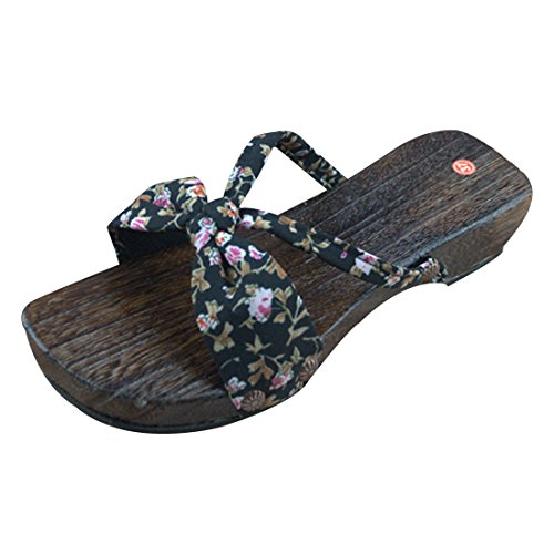 d7adeb66d Qianle Womens Wood Clogs Slippers Lady Japanese Shoes Sandals Footwear  durable service