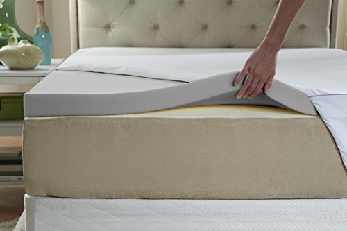 Natures Sleep Cool IQ King Size 2.5 Inch Thick, 4.5 Pound Density Memory Foam Mattress Topper with 18 Inch Fitted Cotton Cover