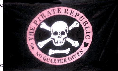 Pink Pirate Flag (Pirate Republic (Pink) Flag 3x5ft Poly)