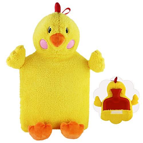 Athoinsu Animal Rubber 2L Hot Water Bottle with Cute Yellow Plush Chicken Cover for Girls Women Children (Chicken)