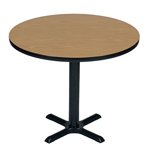 Round 48 Inch Bar - Correll BXT48R-06 Medium Oak Top and Black Base Round Bar, Café and Break Room Table, 48